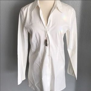 Extra long white button down top / tunic